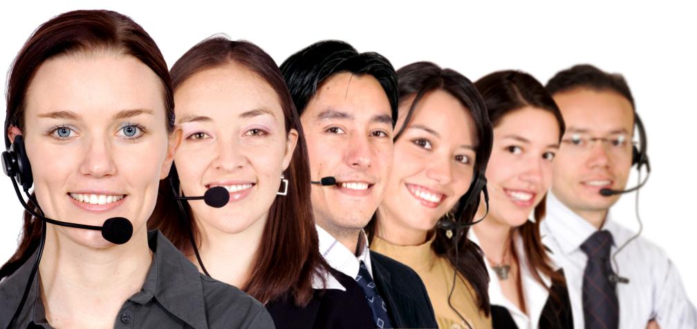 big customer service team over white